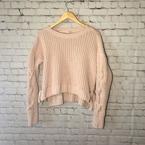 Candie's Matte Chenille Chunky Knit Pink Sweater